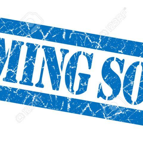 Coming soon grunge blue stamp